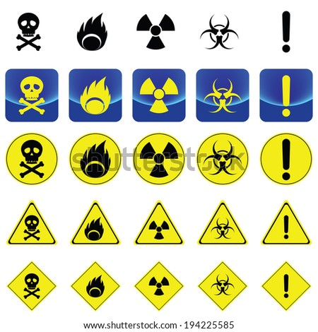 Warning sign for radio active, bio hazard, flame vector on button and many types of yellow circle, triangles and square sign - stock vector