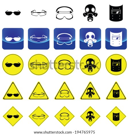 Warning sign for wearing the eyes protection such as sunglasses, lab goggle, gas mask, Welding Helmet - stock vector