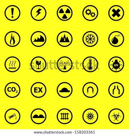Warning sign icons on yellow background, stock vector - stock vector