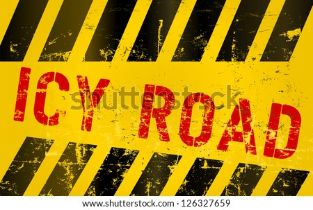 Warning sign icy road - stock vector