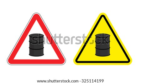 Warning sign of attention barrel of oil. Yellow danger radioactive wastes. Silhouette metallic barrels on red triangle. Set  Road signs. - stock vector