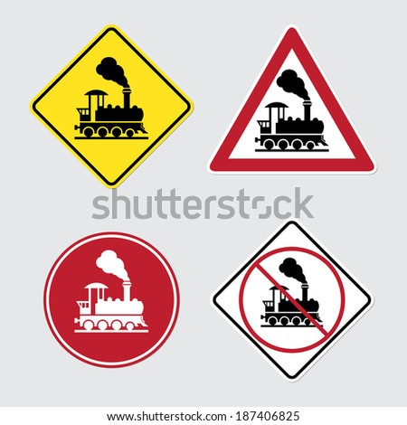 Warning sign traffic railway crossing with gate - stock vector
