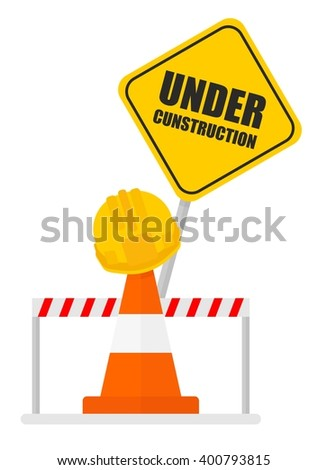 Warning sign under construction Traffic warning barricades and cones. builder, building. Cartoon flat vector illustration. Objects isolated on a background.  - stock vector