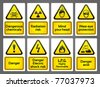 Warning Signs labels - stock vector