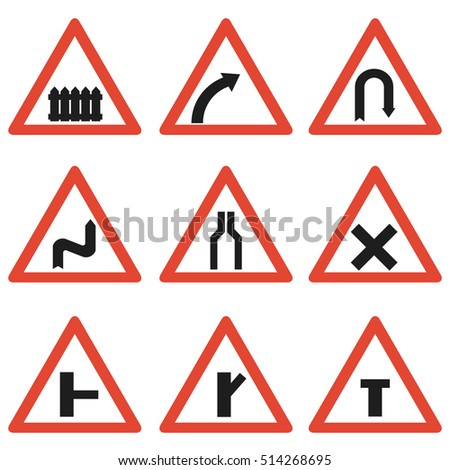 Warning signs, mandatory signs. Flat design.