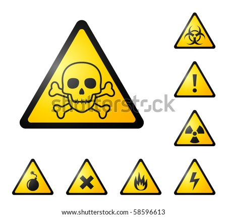 Warning signs, symbols. Danger, poison, skull, crossbones, bio hazard, electricity, high voltage, chemical, waste, radioactive, explosion, bomb, flame, virus, toxic, alert, caution vector icon set