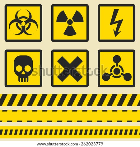 Warning signs, symbols. Vector icon set. Seamless tape. - stock vector