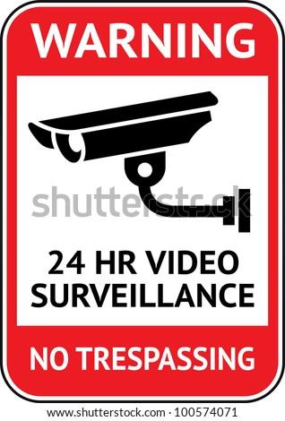 Warning Sticker for Security Alarm CCTV Camera Surveillance - stock vector