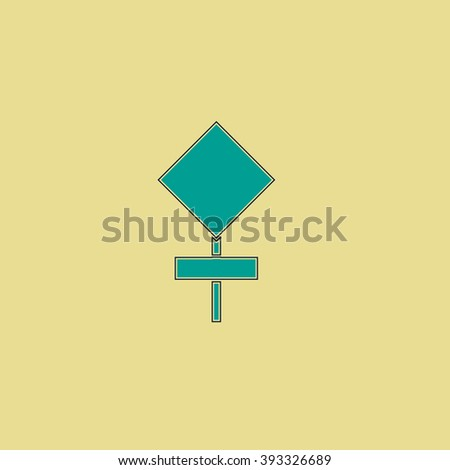 warning stroke sign Flat line icon on yellow background. Vector pictogram with stroke - stock vector