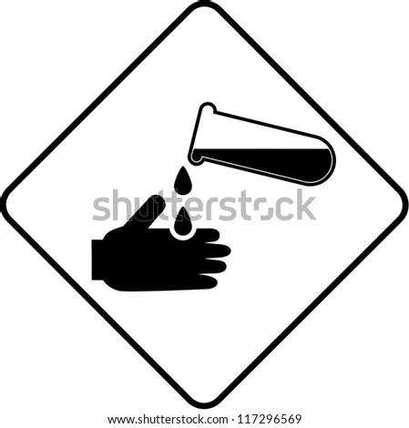Warning symbol - corrosive - stock vector
