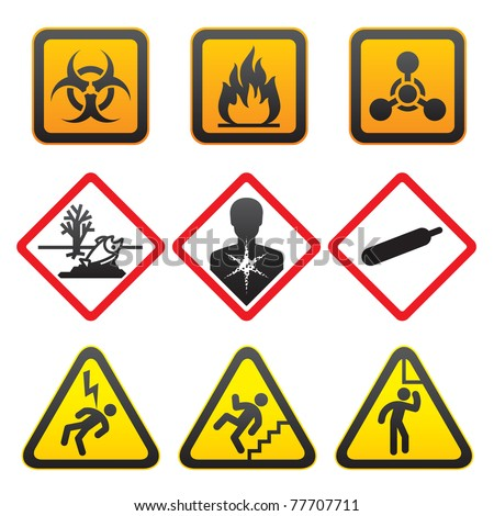 Warning symbols - Hazard Signs-Second - stock vector