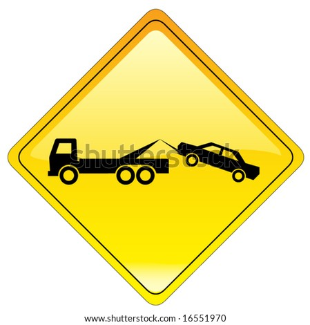 warning tow away zone sign - also available as JPEG - stock vector