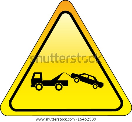 warning tow away zone sign - triangle version - also available as JPEG - stock vector