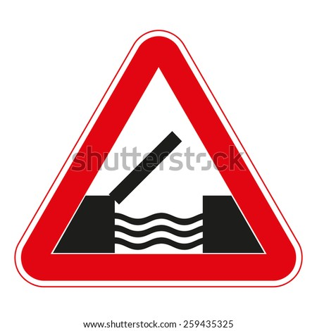 Warning traffic signs. Opening or swing bridge. - stock vector