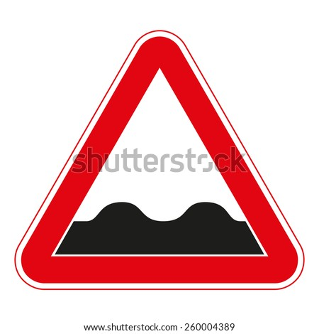 Warning traffic signs. Uneven road. - stock vector