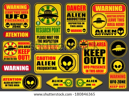 Warning UFO Aliens Signs Collection - stock vector