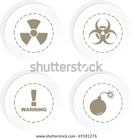 Warning vector label. Vector template. - stock vector