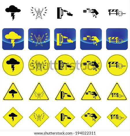 warning vector sign for electricity shock from thunder, high voltage pole, wet hand, under construction place on button and many yellow signs  - stock vector