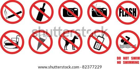 Warnings, No signs, protection signs - stock vector