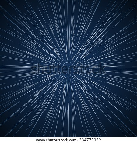 Warp stars vector abstract background. Ray galaxy, flare and light, vector illustration. Traveling in space concept - stock vector