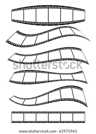 warped film strip with wavy style, with film frame number and details - stock vector