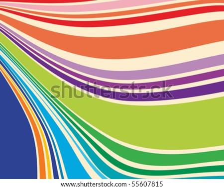 Warped stripes in retro colors - stock vector