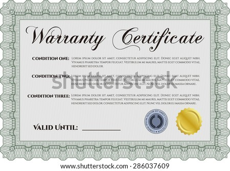 Warranty Certificate. It includes background. Very Customizable. Complex border design.