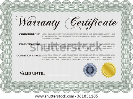 Warranty Certificate template. Complex border design. Retro design. With sample text.