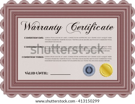 Warranty Certificate template. Cordial design. Detailed. With background.