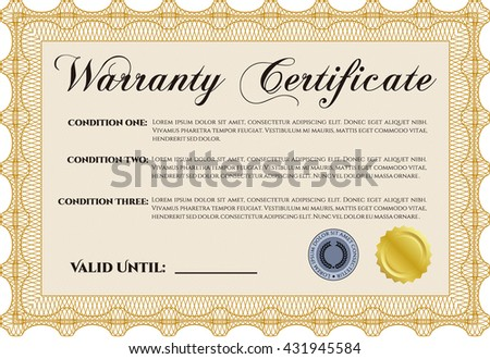 Warranty Certificate Template Detailed Background Cordial Stock