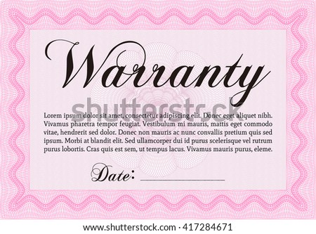 Warranty Certificate template. Easy to print. Cordial design. Detailed.  - stock vector