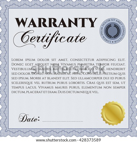Warranty Certificate template. Easy to print. Detailed. Nice design.  - stock vector