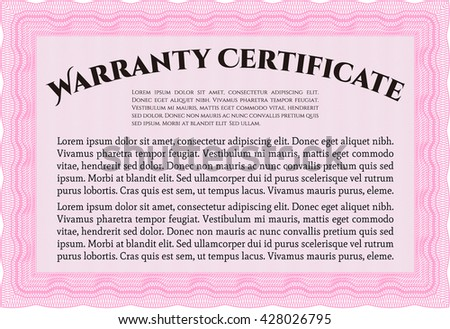 Warranty Certificate template. Easy to print. Nice design. Detailed.  - stock vector