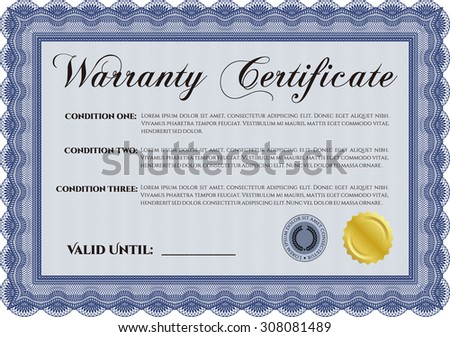 Warranty Certificate template. Easy to print. Perfect style. Complex frame.  - stock vector