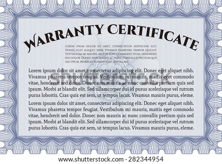 Warranty Certificate Template Includes Background Sample Stock