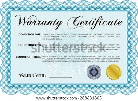 Warranty Certificate. Vector illustration. Complex frame. With complex background.