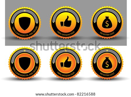 Warranty Guarantee Gold Seal.Vector - stock vector
