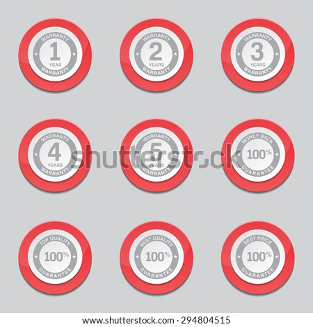 Warranty Guarantee Seal Red Vector Button Icon Design Set