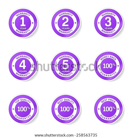 Warranty Guarantee Seal Violet Vector Button Icon Design Set