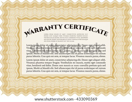 Warranty template or warranty certificate. Sophisticated design. With great quality guilloche pattern.