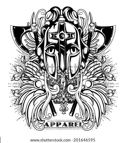 Warrior apparel  - stock vector