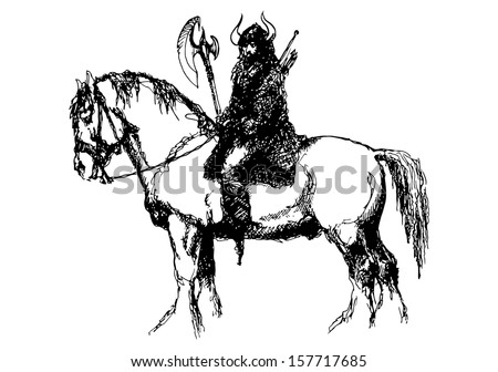 Warrior on a large horse. Ink drawing I did years ago. Scanned and vectorized - stock vector