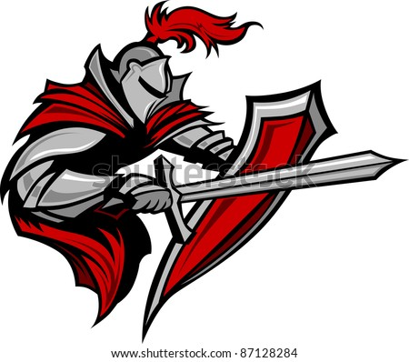 Warrior or Medieval Knight Vector wearing Armor - stock vector