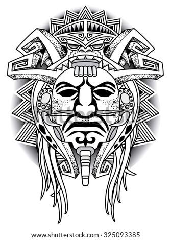 Warrior Tribal Mask Vector illustration - stock vector