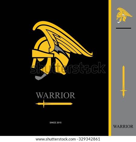 Warrior. Warrior Head. Warrior profile. side view of winged warrior head. warrior head and sword icon. warrior helmet combine with text and sword icon.  - stock vector