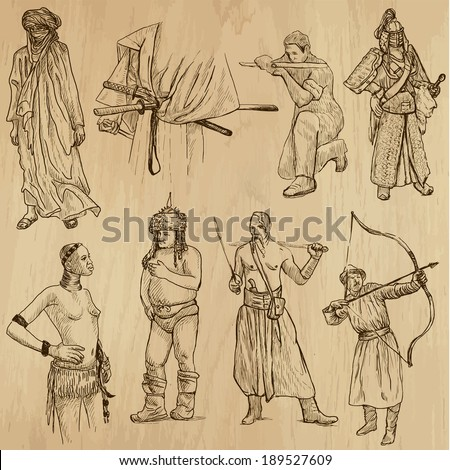 Warriors around the World (vector pack no.6). Collection of an hand drawn illustrations (originals, no tracing). Each drawing comprises of two layers of outlines,the colored background is isolated. - stock vector