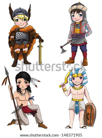 Warriors from various culture set 2 consists of Apache - Vikings - Medjay - Turkish warrior, create by vector  - stock vector