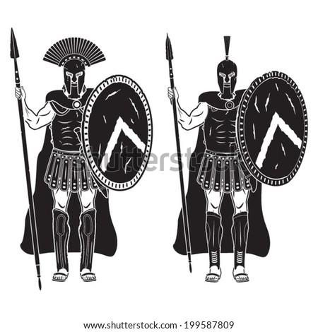 Warriors series - Spartan warriors vector - stock vector