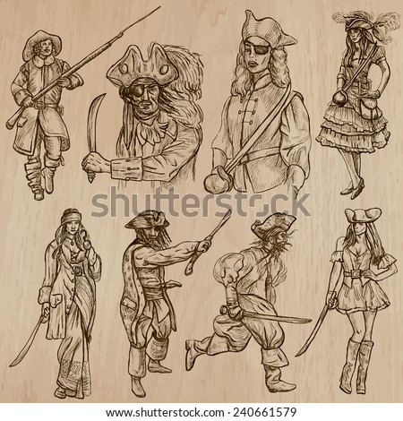 WARRIORS (set no.8) - Collection of an hand drawn vector illustrations. Each drawing comprise three layers of lines, the colored background is isolated. Easy editable in layers and groups. - stock vector