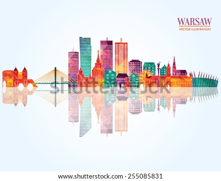 Warsaw detailed skyline. vector illustration - stock vector